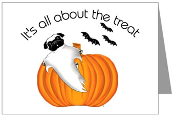 Pugs dogbreed gifts pug greeting cards notecards send your halloween greeting with this fun ghostly pug dog blank inside seller adore a pug shop price boxed pug halloween greeting cards 1399 m4hsunfo