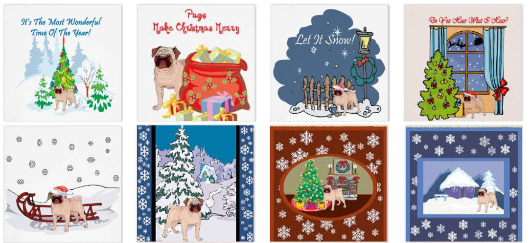 Pugs @ DogBreed-Gifts.com - Pug Christmas Cards & Ornaments